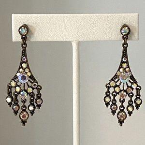 "Jewelry - Brown Rhinestone Earrings 2"""